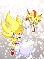 coloring:SuperSonic and shadow by inano2009