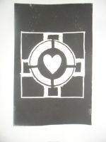 Companion Cube: lino print by Kecks832