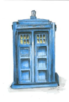 Tardis sketch by Clairvoyantartistry