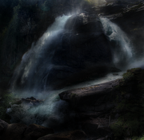 Waterfall Night STOCK by peachesrox-stock