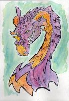Dragon in Watercolor prpl,orng by kanderson137