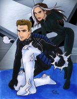 X2 Iceman and Rogue by Cesar-Hernandez