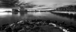 Mandurah water front Western Australia B and W by RaynePhotography