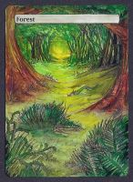 Forest Basic Land #2 - Altered Full Art Magic Card by MadManny510