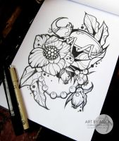 Tattoo sketch, neotraditional by AsikaArt