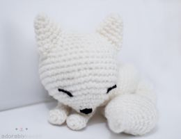 sleepy white fox 2 by tinyowlknits
