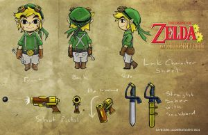 Zelda Steampunk: Link Character Design Sheet by DaveSong