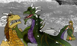 Draco and Razorthorn's first fight by Selinelle