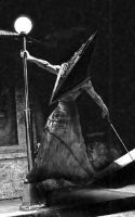 Pyramid Head sings in the rain by mister-motivator