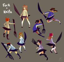 fork and knife concepty poses by memedokis