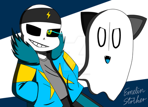 Double FIGHT - ST!Sans and ST!Napstablook by GirlGamer121