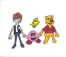 Eugene, Kirby, Pooh, and Woodstock by SonicClone