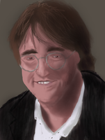 Gabe Newell Portrait by Kiwii3364