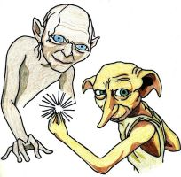Dobby and Smeagol by brunotsu