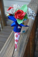 Origami Vintage Sheet Music Rose Bouquet by lisadeng
