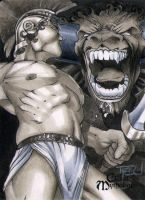 Theseus and Minotaur Classic Mythology Sketch Card by RichardCox