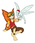 Orange Fae and Dragonfly by Kitsune64