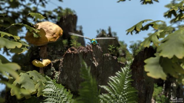 dragonfly in the woods by AronKamo