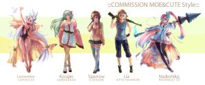 ::Fullbody Moe style::Character Commission set 5 by nanshu29