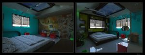 Interior children bed room by psd0503
