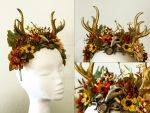 Fantasy Headdress Commission Autumn deer by cyehra