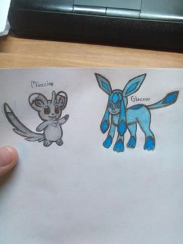 Personnal Pokemon Reference - Minccino and Glaceon by Soniclifetime