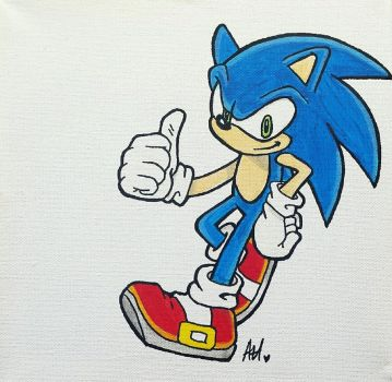 Sonic the Hedgehog canvas by rawrnessxx