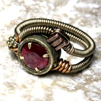 Steampunk Ruby Ring by CatherinetteRings