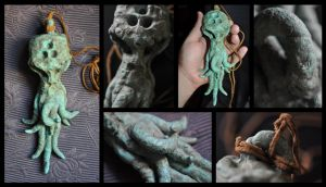 CORRODED BRONZE CTHULHU AMULET - INNSMOUTH ORIGINS by mortonskull