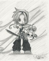 yoh nd amidamaru - chibi by ax21