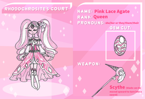 Rhodochrosite's Court Application: Pink Lace Agate by kuku88