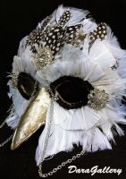 Athena Snowy Owl Masquerade Mask by DaraGallery