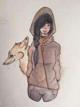 The girl and the brown wolf by neverExsist