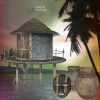 Tribal Hut and Props by oldhippieart