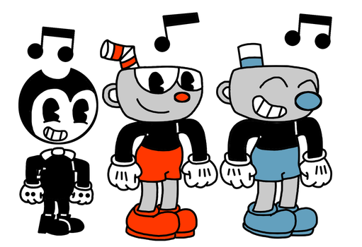 Bendy, Cuphead and Mugman dancing together by MarcosPower1996