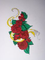 Snake Rose tattoo design by Refeathers1104