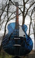 Stained Glass Guitar in Blue by Raventalker