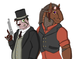 Pinkerton the Great and Clockwork Churchill by CNena