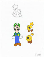 Luigi and Starlow Sketches Colored by Sonicdude645