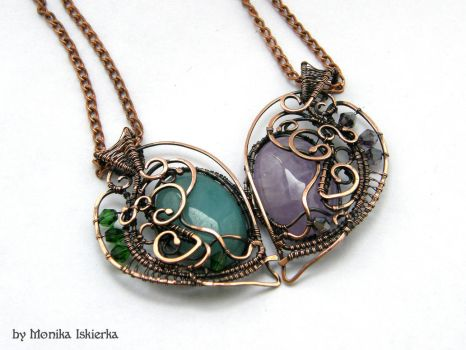 Heart- copper necklaces by mea00