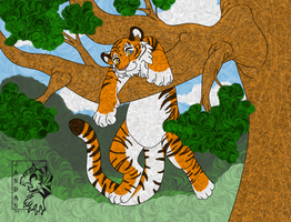 Tiger in Tree Ver 2 by Songficcer