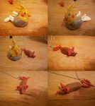 cockatiel and rat clay figures by mechanicalmasochist