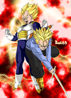 Vegeta And Trunks Saiyan by eddbz