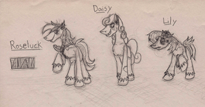 Equestria Abandoned NNB -  Flower Trio by Madness-with-Reason