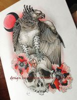 Tattoo Design - Harpia, Skull and flowers by Xenija88