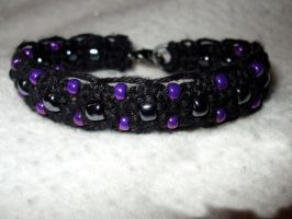 Black Hemp Cuff Purple Beads by Psy-Sub