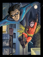 Nightwing + Robin: Night Hunt by heliozero