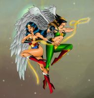 Wonder Woman and Hawkgirl New by Risk-in-the-kiss