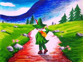 Snufkin in Moominvalley by Oceansoul7777