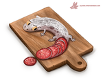 Daily Paint #1195. Salaminder by Cryptid-Creations